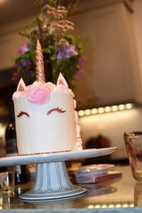 rose gold unicorn cake